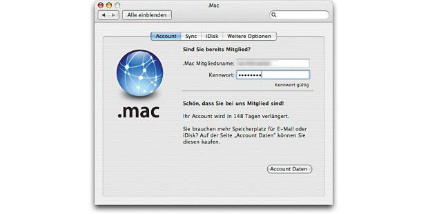 Probleme mit .Mac-Accounts