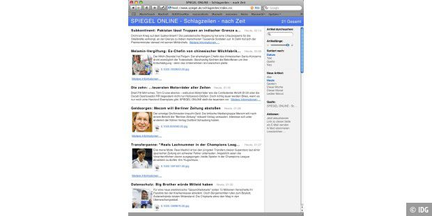 Der in Safari integrierte RSS-Viewer bietet komfortable Such- und Sortieroptionen.