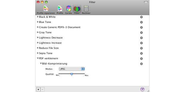 Mit einem eigenen Quartz-Filter erhält man eine bessere Qualität beim Verkleinern von PDFs.