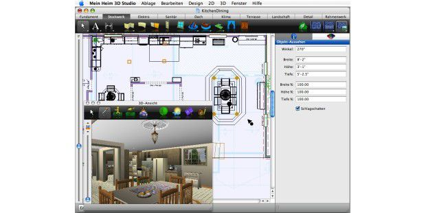 test architect 3d planung f r haus inneneinrichtung und garten macwelt. Black Bedroom Furniture Sets. Home Design Ideas