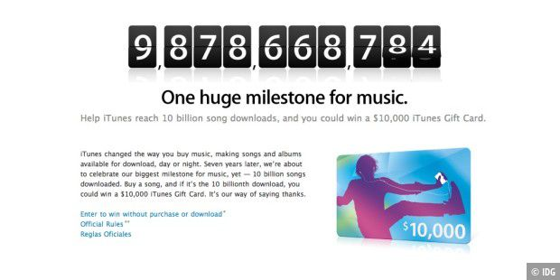 iTunes Store Countdown 10 Milliarden