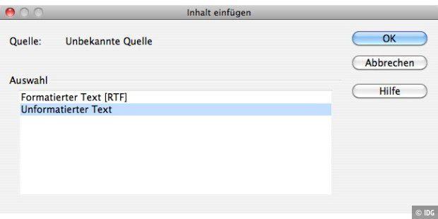 Nur Text ohne Formatierung kopieren - Macwelt