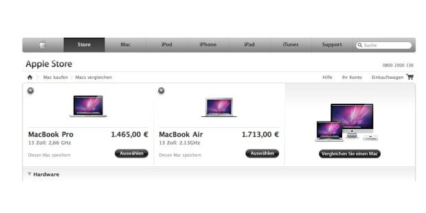 Compare Mac im Apple Store
