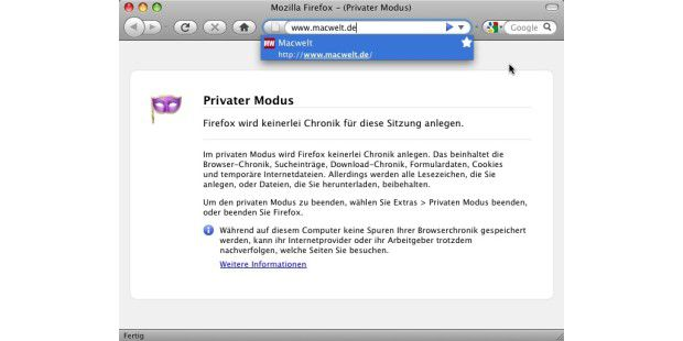 Firefox 3.5 Privater Modus