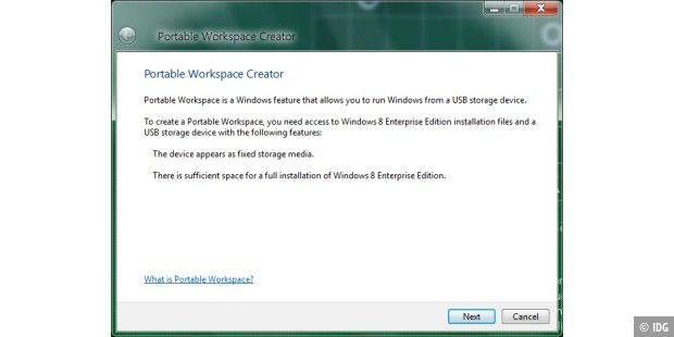 Portable Workspace: Mit Windows 8 lässt sich das Betriebssystem auch auf einem USB-Stick installieren. In den Milestone-Versionen bietet Windows 8 hierfür die neue Funktion Portable Workspace Creator.