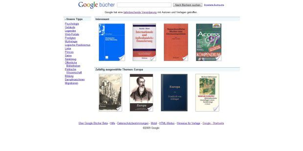 Google Books bücher Buchsuche Screenshot