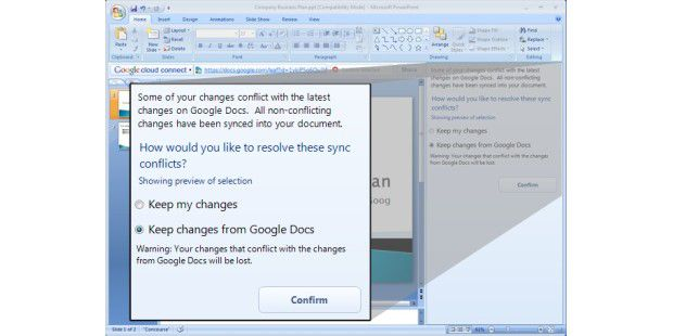 Die Cloud-Connect-Toolbar in Microsoft Word. (Quelle: Google)