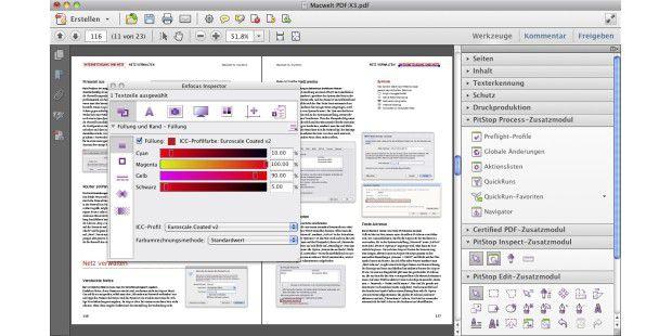 Die Werkzeuge von Pitstop 10 sind in Acrobat Pro X ebenfalls in der Seitenleiste zu finden.
