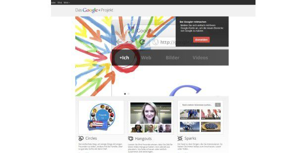 Google Google+ Anmeldeseite Screenshot PNG
