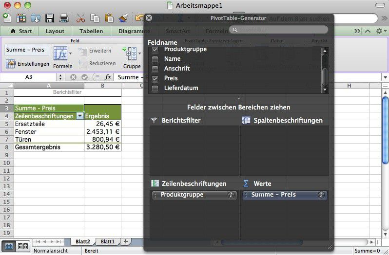 Pivot-Tabelle in Excel nutzen - Macwelt