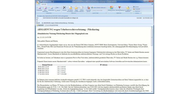 eleven_Abmahnung Mail Megaupload