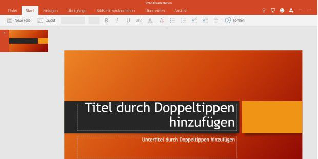 Preview der kostenlose Powerpoint-App für Windows 10