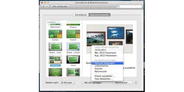 Mountain Lion zeigt Fotoalben oder mitgelieferte Bilder so hübsch wie noch nie in den Arbeitspausen im Bildschirmschoner an.