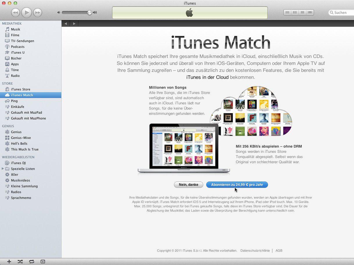 b7e1cb9419 Vergrößern Zum Start von iTunes Match meldet man sich in iTunes mit der  Apple-ID seines iTunes-Kontos an.