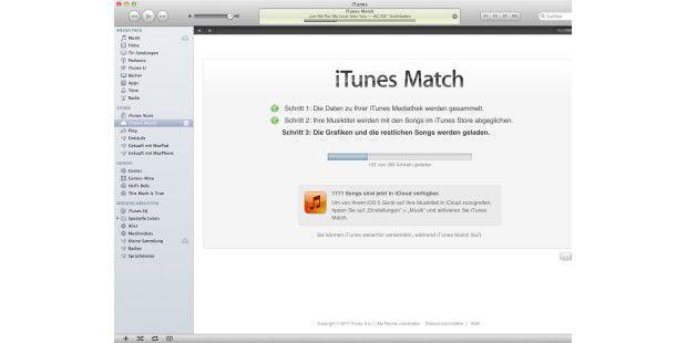 Die Aktivierung erfolgt in drei Schritten, wobei am Ende der Upload der im iTunes Store fehlenden Titel steht.