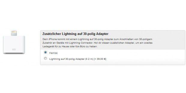 Den Lightning-Adapter kann man sich für 39 Euro mitbestellen. Im Lieferumfang ist jedoch ein Adapter mit dabei.