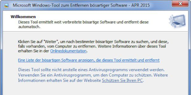 Windows-Tool zum Entfernen bösartiger Software 5.23 (April 2015)