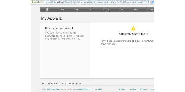 """Leider ist das gelbe Warnzeichen auf der Seite nicht so erfreulich wie die gelben Zettelchen im Apple Online Store """"We will be back soon""""."""