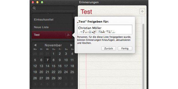 Die in OS X Mountain Lion erstellten Erinnerungen kann man über iCloud für andere Nutzer freigeben.