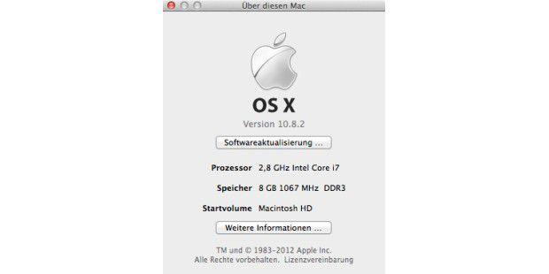 """Eine kurze Zusammenfassung aller wichtigen Informationen liefert das Fenster """"Über diesen Mac""""."""