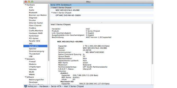"""Über das Dienstprogramm """"Systeminformationen"""" erfährt man mehr über die Einzelteile im Mac."""