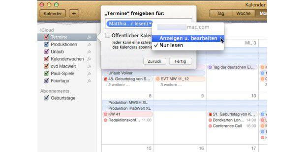 Sie können einen Kalender für andere Nutzer mit Apple-ID freigeben und gemeinsame Kalender nutzen.