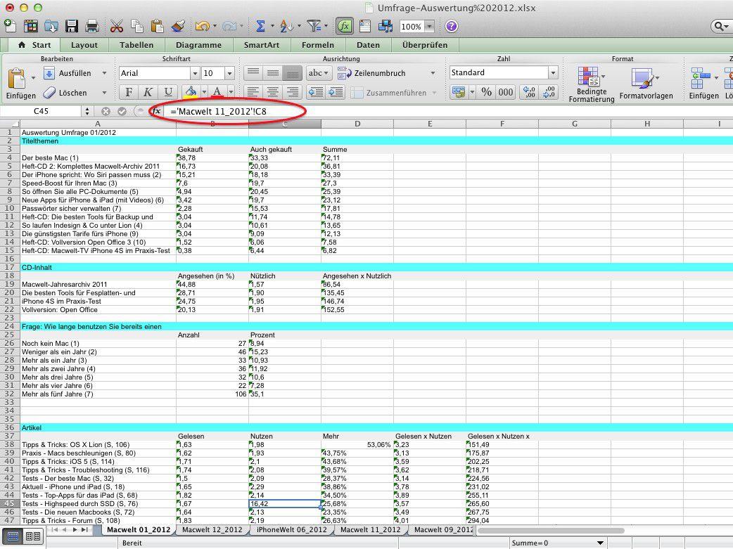 Daten aus anderen Excel-Tabellen direkt übernehmen - Macwelt
