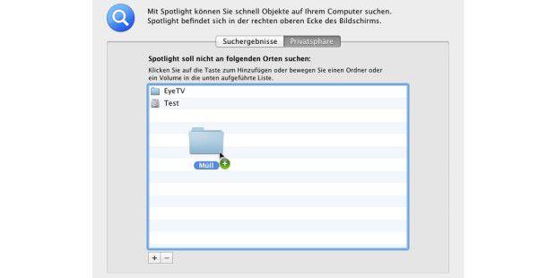"""Die Ausnahmen für die Spotlight-Suche definiert man in der Einstellung """"Privatsphäre""""."""