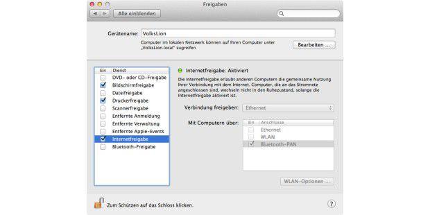 Bluetooth-PAN ist die Verbindugsstelle zwischen dem Mac und dem iOS-Geräts