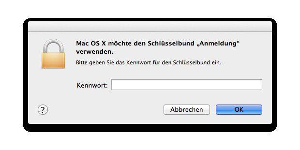 Nach dem Umzug von Schlüsselbund fragt das System nach altem Administrator-Passwort.