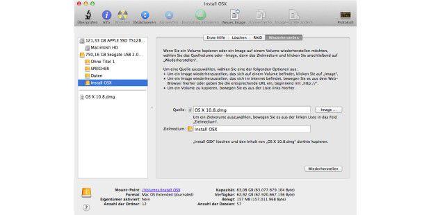 """Im Menü """"Wiederherstellen"""" des Festplatten-Dienstprogramms dient als Quelle die DMG-Datei mit Mountain Lion, als Ziel - die leere Installationspartition. Überschreiben der Daten dauert wenige Minuten. Danach ist eine Start-fähige Partion fertig."""