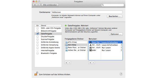 Zugriff für Mac-Benutzer einschalten