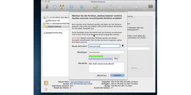Um eine externe Festplatte zu löschen (alle Daten gehen verloren) und dann zu verschlüsseln, benutzt man das Festplatten-Dienstprogramm von OS X Mountain Lion.