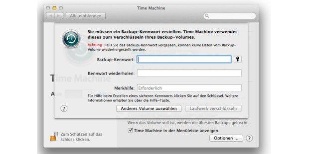 """Wer nur das Volume für das Backup mit Time Machine verschlüsseln will, findet alle Hilfen in den Systemeinstellungen unter """"Time Machine"""" - Achtung: die Verschlüsselung benötigt am Anfang sehr lange Zeit, manchmal Tage."""