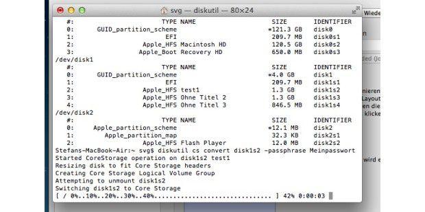 Mit dem Dienstprogramm Terminal und dem Unix-Befehl diskutil kann man einige Feinheiten von verschlüsselten Festplatten ermitteln