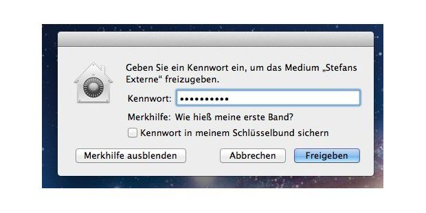 OS X Mountain Lion fragt nach dem Kennwort, wenn man eine Festplatte oder einen USB-Stick anschließt, der zuvor verschlüsselt wurde