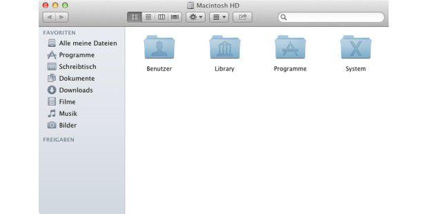 Die vier Standardordner von OS X – in Benutzer liegen die Privatordner der Anwender. Die Verzeichnisstruktur des Unix-Unterbaus bleibt im Finder unsichtbar.