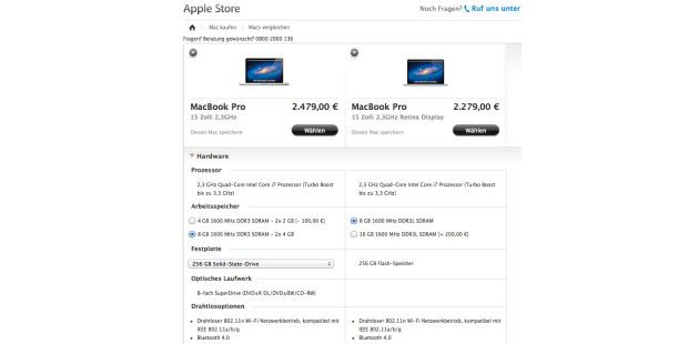 Macbook Pro im Vergleich: Packt man mehr RAM und eine SSD in das herkömmliche Macbook Pro, sind zum Macbook Pro Retina noch das externe Superdrive und jede Menge Adapter für alte Peripherie drin…