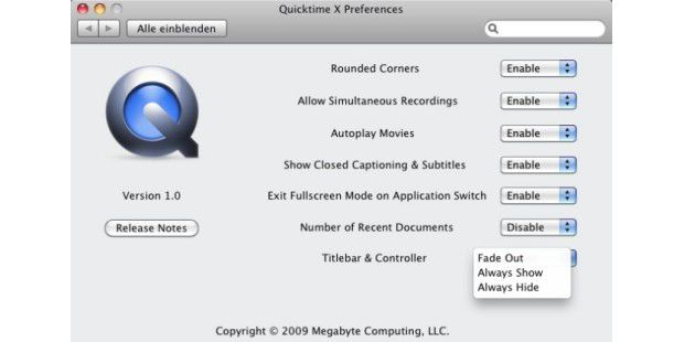 Quicktime Prefercences