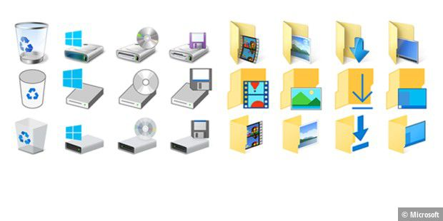 Windows 10 Build 10130 - die neuen Icons (jeweils unten in den Spalten)