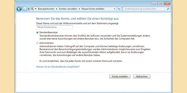 Schneller Benutzerkonten in Windows anlegen