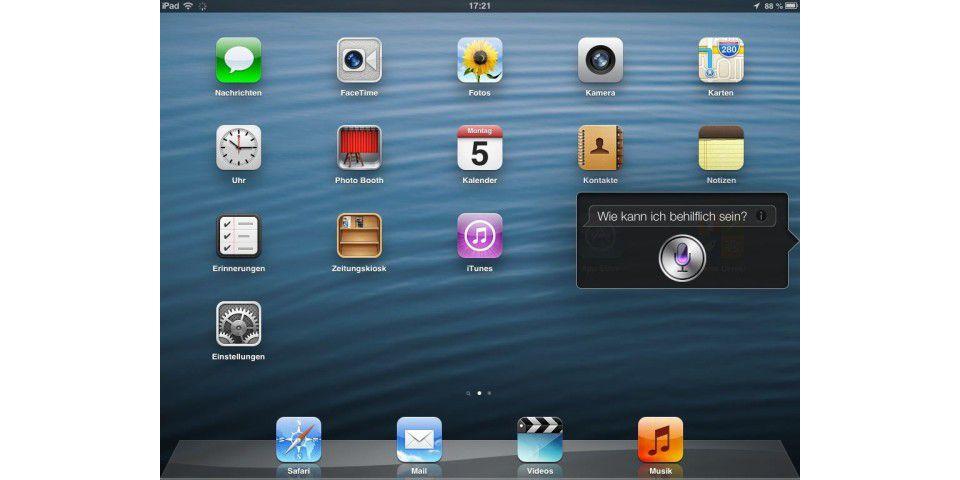 Das Halten der Home-Taste startet Siri.