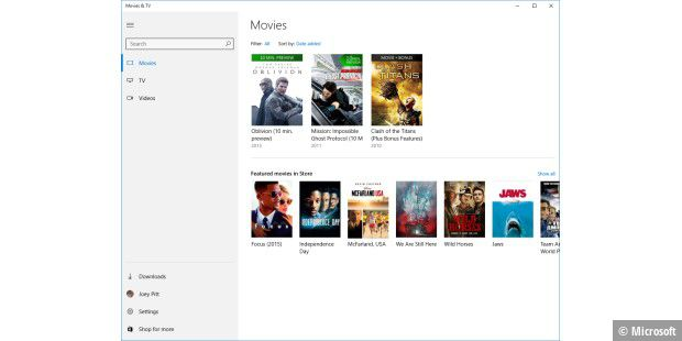 Windows 10: Die neue Anwendung Movies & TV