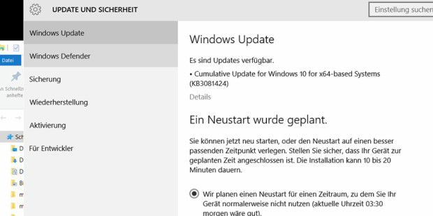 Windows Update verlangt Neustart des Systems