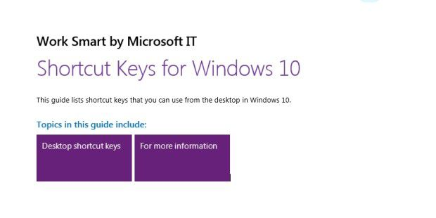 Hotkey-Liste für Windows 10