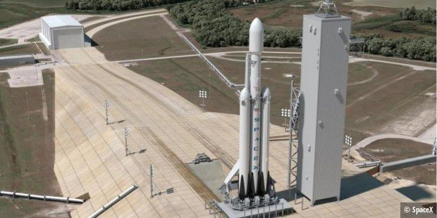 So stellt sich SpaceX den Start der Falcon Heavy vom Complex 39A des NASA Kennedy Space Center in Cape Canaveral in Florida vor.