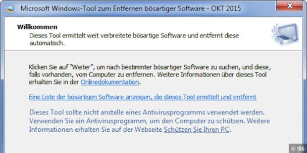 Das Windows-Tool zum Entfernen bösartiger Software, Version 5.29