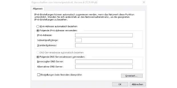 Windows unterstützt den Betrieb nach Dual Stack von Haus aus.