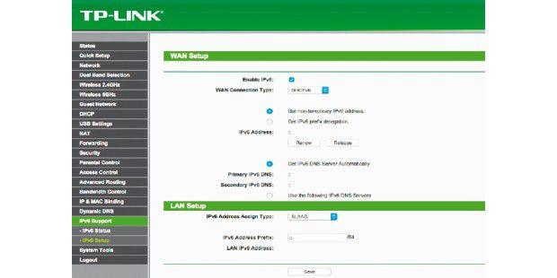 Gleiches Thema, anderes Beispiel: So sieht die IPv6-Konfiguration in einem Router des Herstellers TP-Link aus.