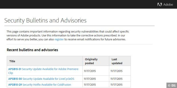 Neue Adobe Security Bulletins